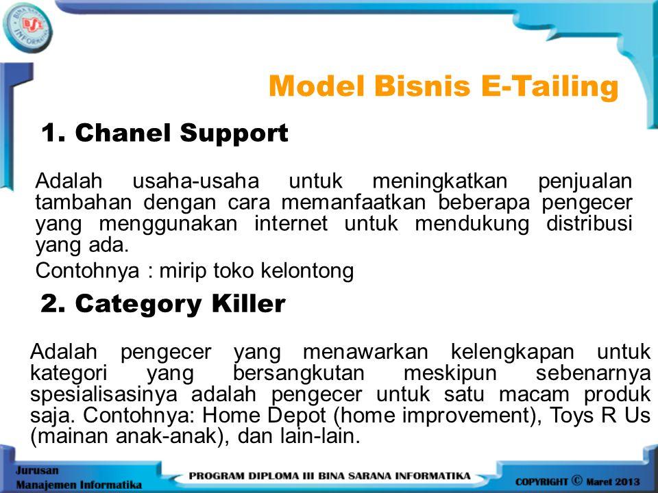 1. Chanel Support Adalah usaha-usaha untuk meningkatkan penjualan tambahan dengan cara memanfaatkan beberapa pengecer yang menggunakan internet untuk
