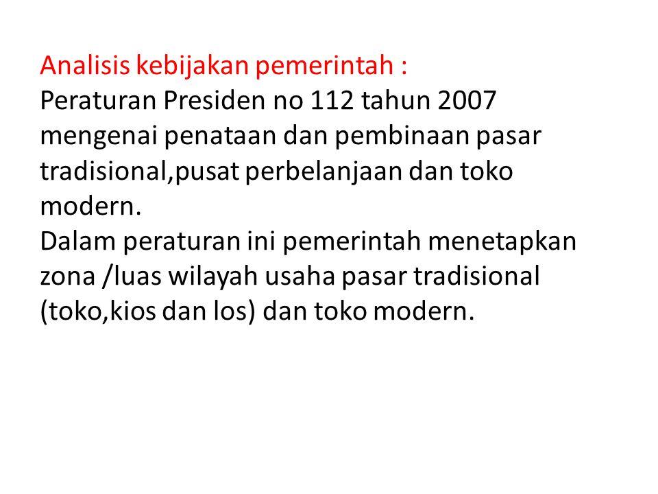 Analisis kebijakan pemerintah : Peraturan Presiden no 112 tahun 2007 mengenai penataan dan pembinaan pasar tradisional,pusat perbelanjaan dan toko mod