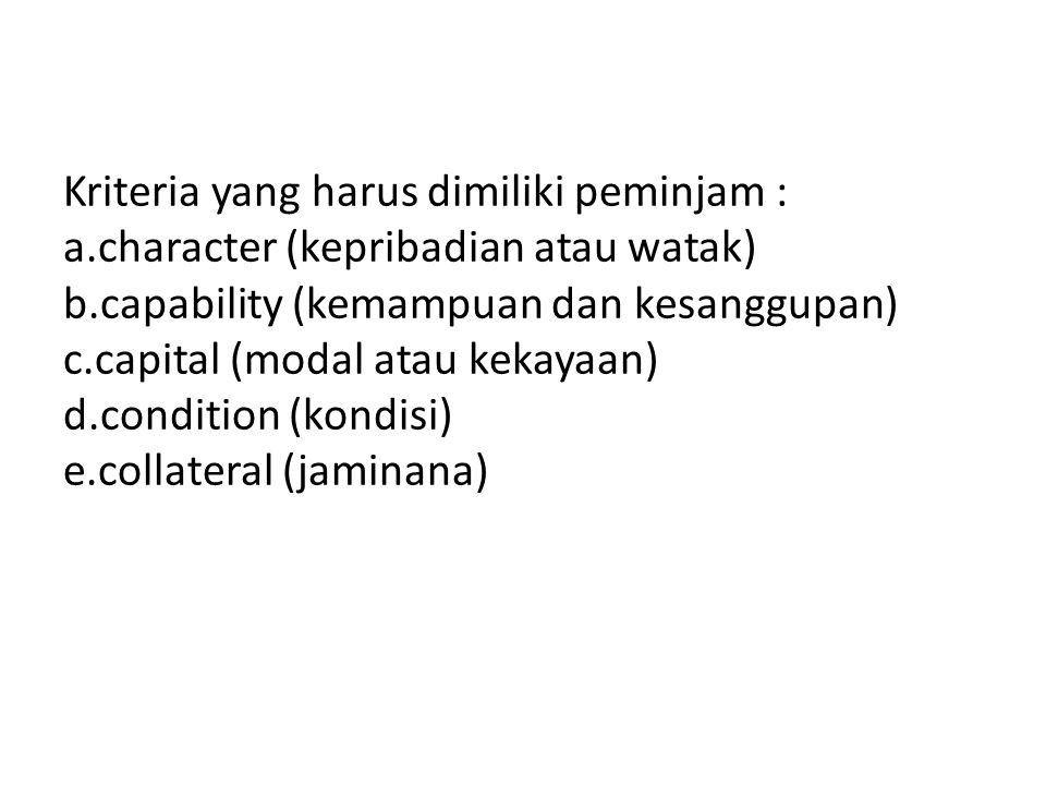 Kriteria yang harus dimiliki peminjam : a.character (kepribadian atau watak) b.capability (kemampuan dan kesanggupan) c.capital (modal atau kekayaan)