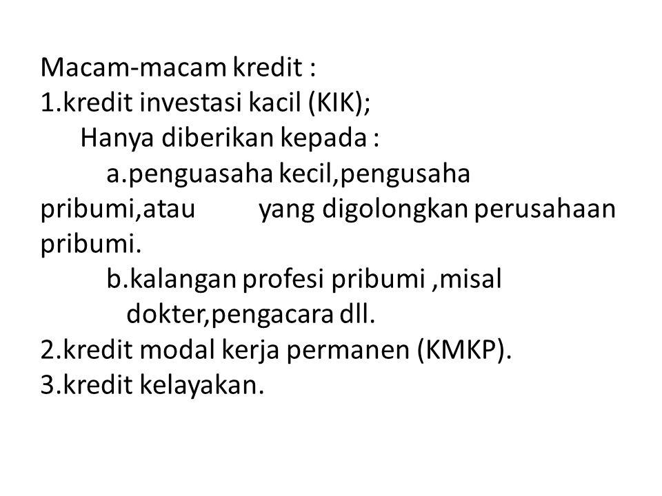Macam-macam kredit : 1.kredit investasi kacil (KIK); Hanya diberikan kepada : a.penguasaha kecil,pengusaha pribumi,atau yang digolongkan perusahaan pr