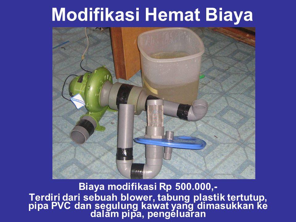 Modifikasi Hemat Biaya Biaya modifikasi Rp 500.000,- Terdiri dari sebuah blower, tabung plastik tertutup, pipa PVC dan segulung kawat yang dimasukkan