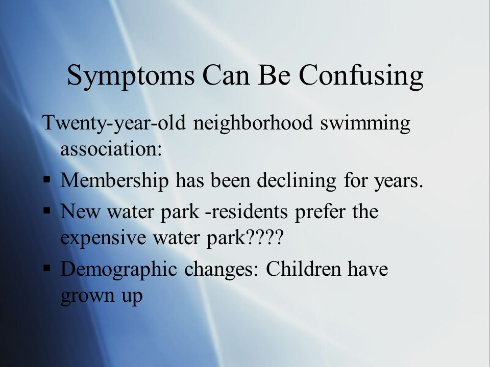 Symptoms Can Be Confusing Twenty-year-old neighborhood swimming association:  Membership has been declining for years.  New water park -residents pr