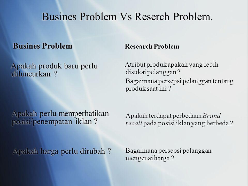 Busines Problem Vs Reserch Problem. Busines Problem Apakah produk baru perlu diluncurkan ? Apakah perlu memperhatikan posisi/penempatan iklan ? Apakah