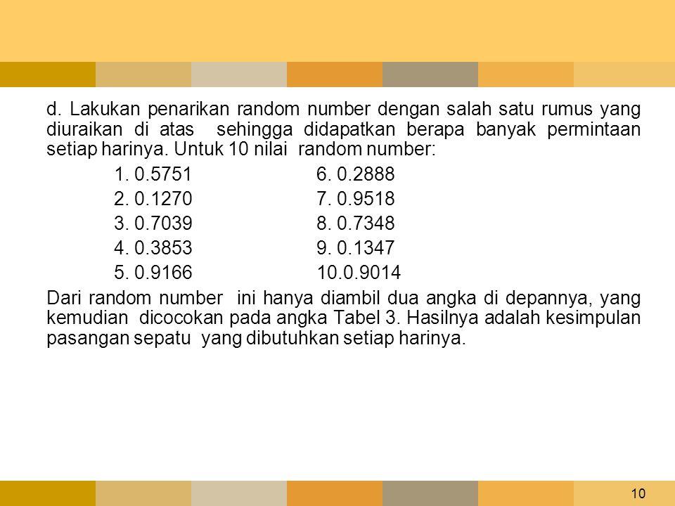 10 d. Lakukan penarikan random number dengan salah satu rumus yang diuraikan di atas sehingga didapatkan berapa banyak permintaan setiap harinya. Untu