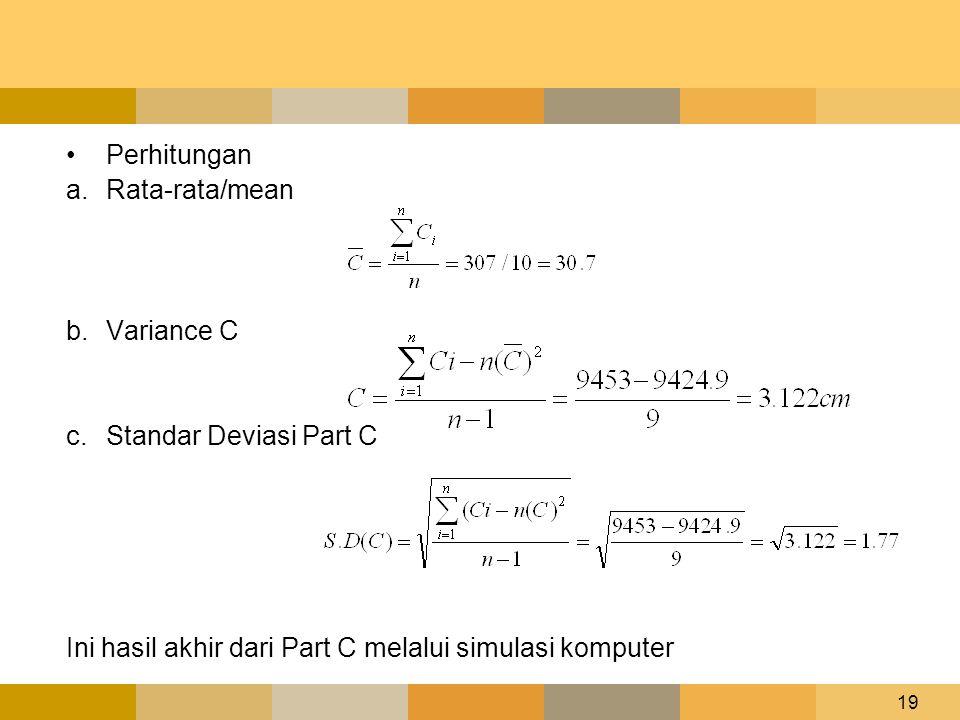 19 •Perhitungan a.Rata-rata/mean b.Variance C c.Standar Deviasi Part C Ini hasil akhir dari Part C melalui simulasi komputer