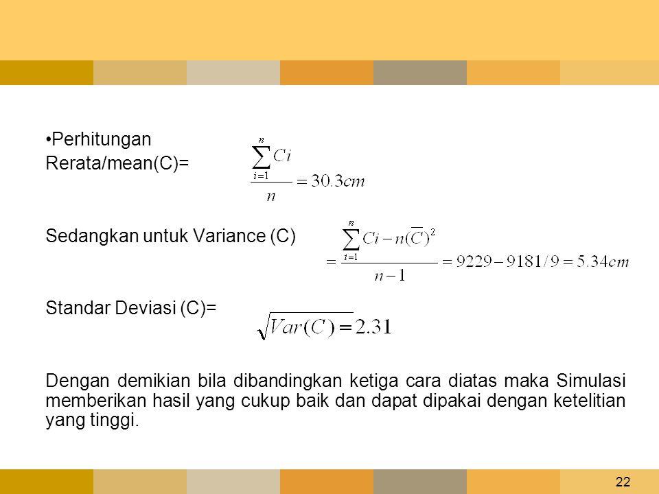 22 •Perhitungan Rerata/mean(C)= Sedangkan untuk Variance (C) Standar Deviasi (C)= Dengan demikian bila dibandingkan ketiga cara diatas maka Simulasi m