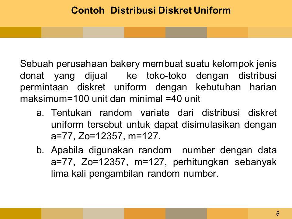 5 Contoh Distribusi Diskret Uniform Sebuah perusahaan bakery membuat suatu kelompok jenis donat yang dijual ke toko-toko dengan distribusi permintaan
