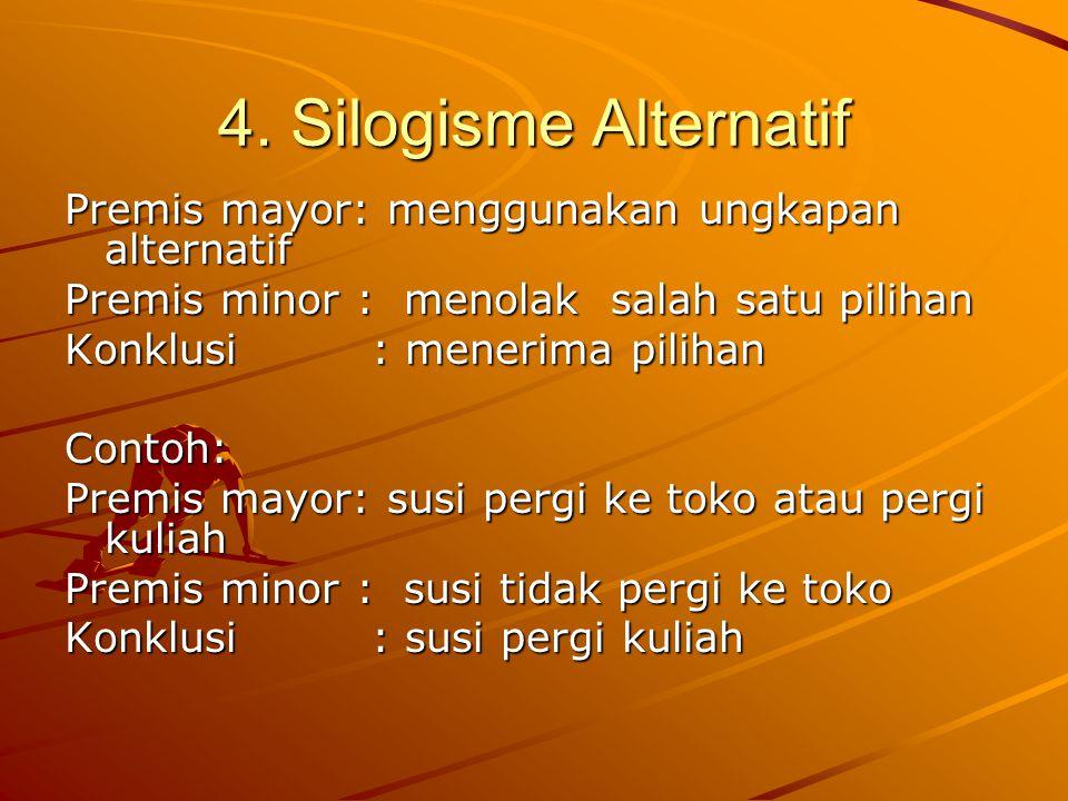 4. Silogisme Alternatif Premis mayor: menggunakan ungkapan alternatif Premis minor : menolak salah satu pilihan Konklusi : menerima pilihan Contoh: Pr