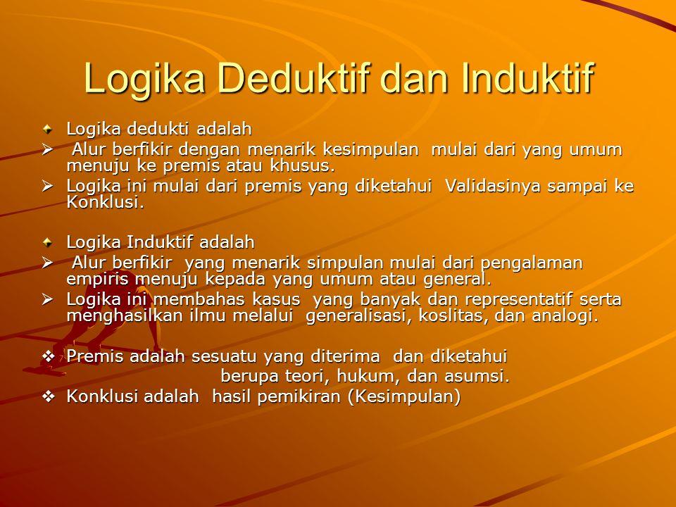 Logika Deduktif dan Induktif Logika dedukti adalah  Alur berfikir dengan menarik kesimpulan mulai dari yang umum menuju ke premis atau khusus.