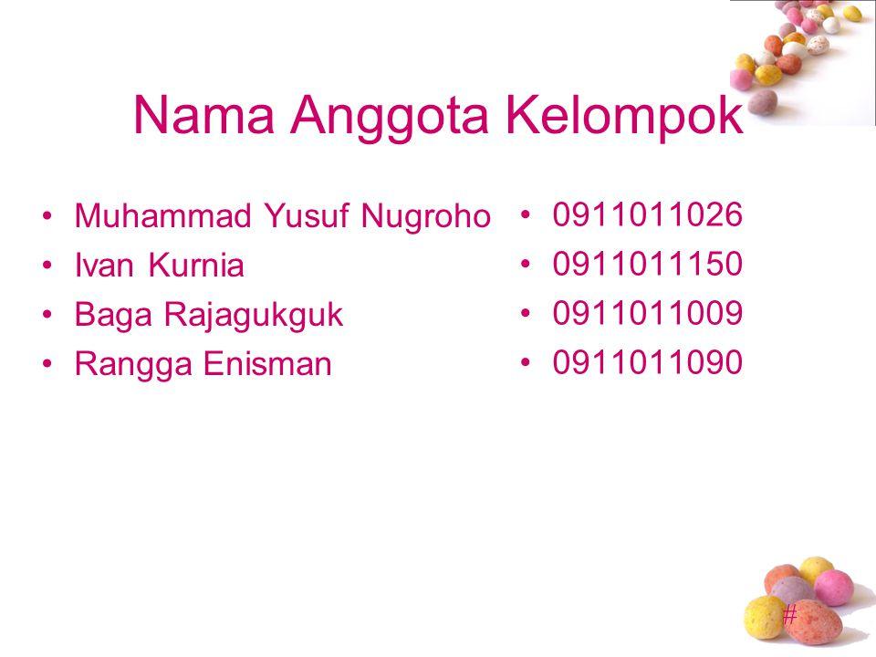 # Nama Anggota Kelompok •Muhammad Yusuf Nugroho •Ivan Kurnia •Baga Rajagukguk •Rangga Enisman •0911011026 •0911011150 •0911011009 •0911011090