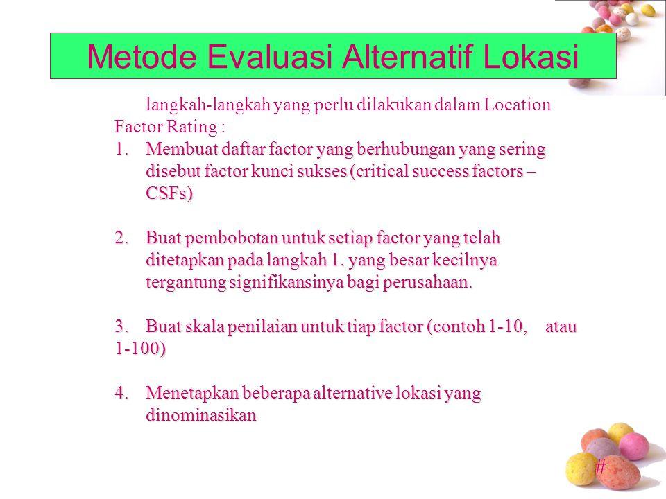 # Metode Evaluasi Alternatif Lokasi langkah-langkah yang perlu dilakukan dalam Location Factor Rating : 1.Membuat daftar factor yang berhubungan yang