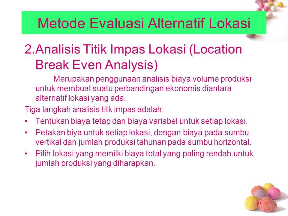 # Metode Evaluasi Alternatif Lokasi 2.Analisis Titik Impas Lokasi (Location Break Even Analysis) Merupakan penggunaan analisis biaya volume produksi u
