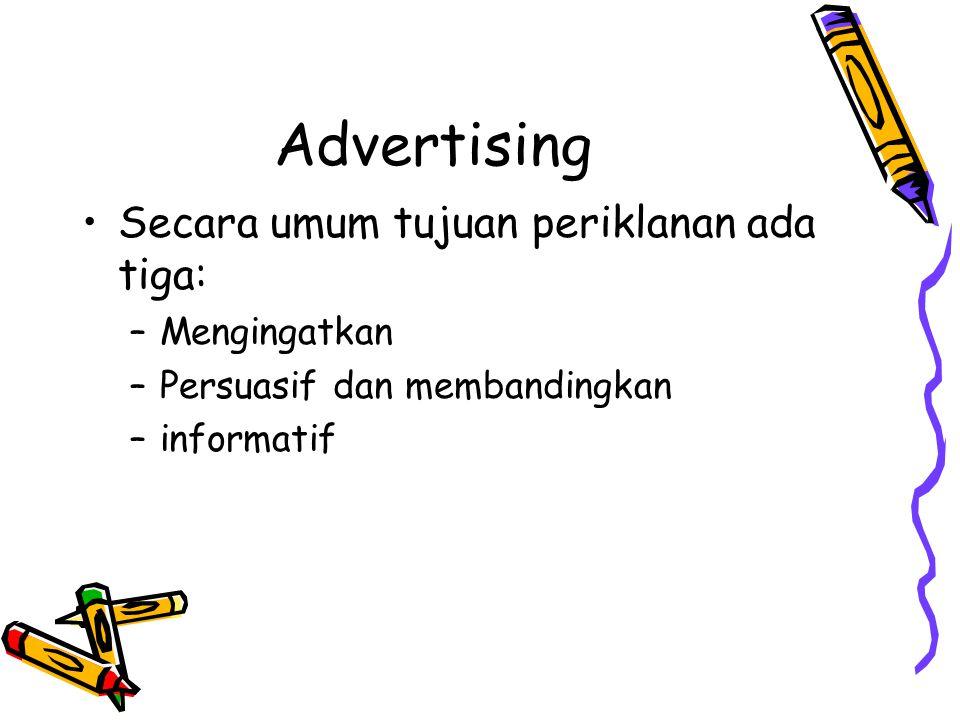 Advertising •Secara umum tujuan periklanan ada tiga: –Mengingatkan –Persuasif dan membandingkan –informatif