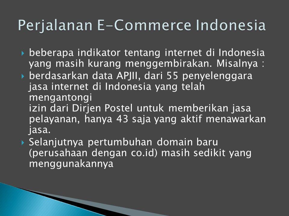  beberapa indikator tentang internet di Indonesia yang masih kurang menggembirakan. Misalnya :  berdasarkan data APJII, dari 55 penyelenggara jasa i