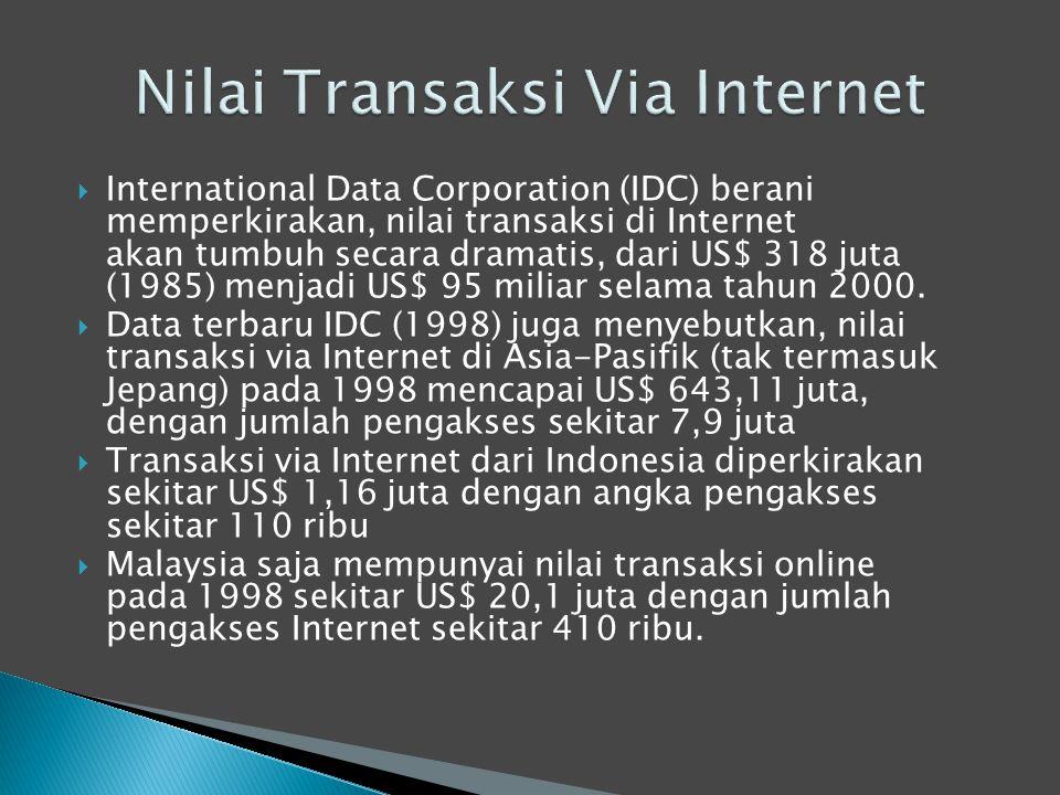  International Data Corporation (IDC) berani memperkirakan, nilai transaksi di Internet akan tumbuh secara dramatis, dari US$ 318 juta (1985) menjadi