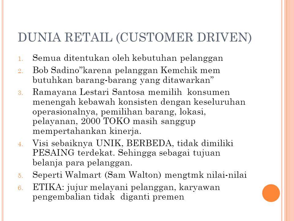 """DUNIA RETAIL (CUSTOMER DRIVEN) 1. Semua ditentukan oleh kebutuhan pelanggan 2. Bob Sadino""""karena pelanggan Kemchik mem butuhkan barang-barang yang dit"""