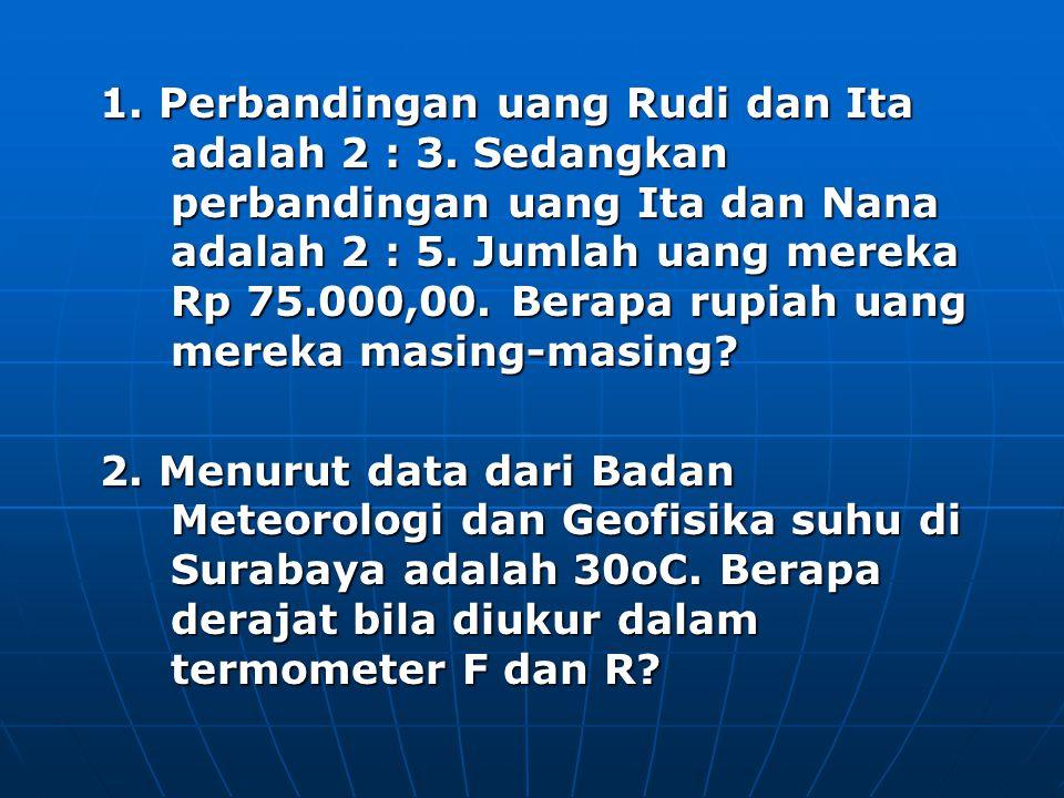 1. Perbandingan uang Rudi dan Ita adalah 2 : 3. Sedangkan perbandingan uang Ita dan Nana adalah 2 : 5. Jumlah uang mereka Rp 75.000,00. Berapa rupiah