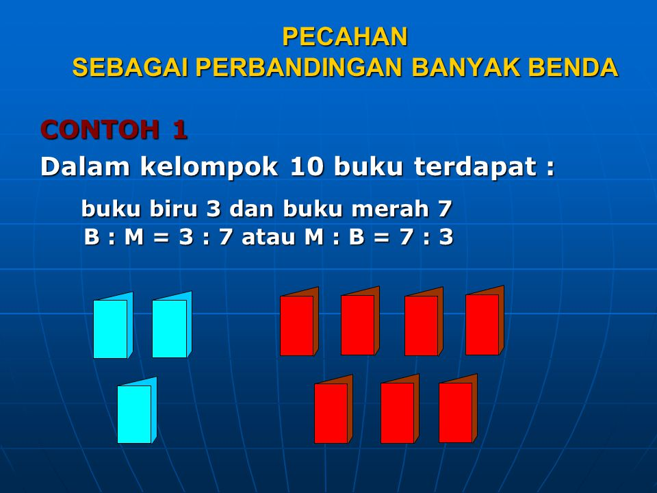 PECAHAN SEBAGAI PERBANDINGAN BANYAK BENDA CONTOH 1 Dalam kelompok 10 buku terdapat : buku biru 3 dan buku merah 7 B : M = 3 : 7 atau M : B = 7 : 3 buk