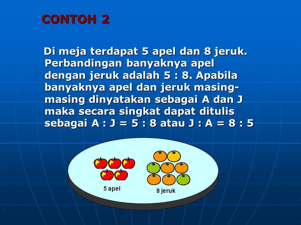 CONTOH 2 CONTOH 2 Di meja terdapat 5 apel dan 8 jeruk. Perbandingan banyaknya apel dengan jeruk adalah 5 : 8. Apabila banyaknya apel dan jeruk masing-