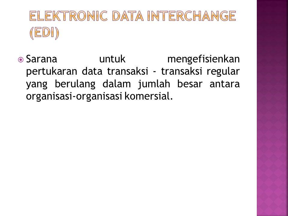 Sarana untuk mengefisienkan pertukaran data transaksi - transaksi regular yang berulang dalam jumlah besar antara organisasi-organisasi komersial.