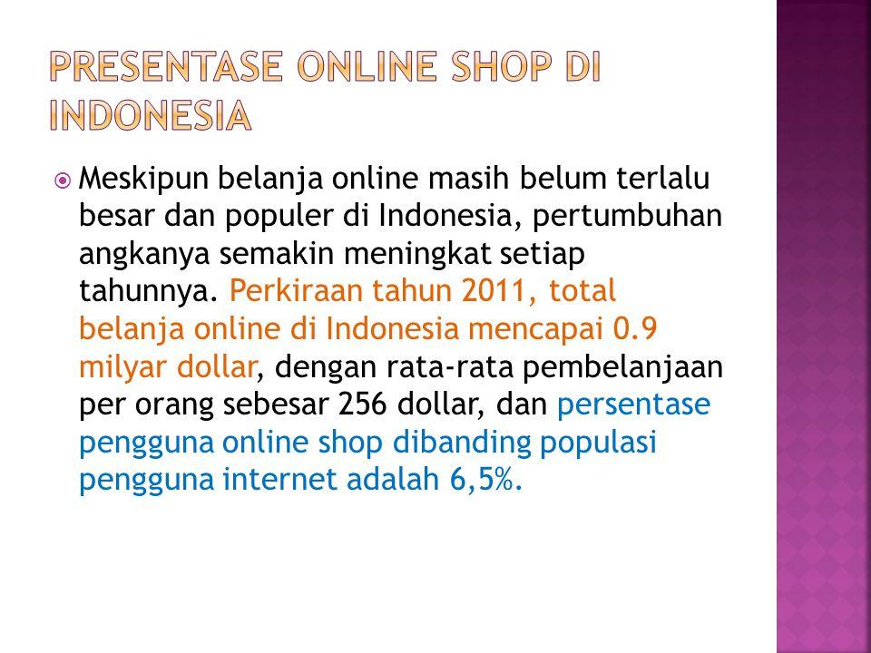 Meskipun belanja online masih belum terlalu besar dan populer di Indonesia, pertumbuhan angkanya semakin meningkat setiap tahunnya. Perkiraan tahun
