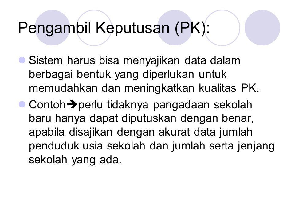 Pengambil Keputusan (PK):  Sistem harus bisa menyajikan data dalam berbagai bentuk yang diperlukan untuk memudahkan dan meningkatkan kualitas PK.