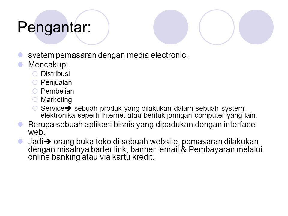 Pengantar:  system pemasaran dengan media electronic.