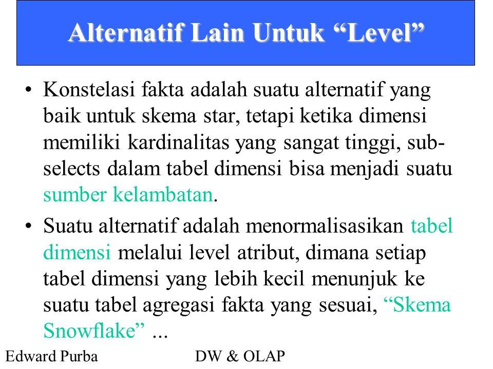 Edward PurbaDW & OLAP Alternatif Lain Untuk Level •Konstelasi fakta adalah suatu alternatif yang baik untuk skema star, tetapi ketika dimensi memiliki kardinalitas yang sangat tinggi, sub- selects dalam tabel dimensi bisa menjadi suatu sumber kelambatan.