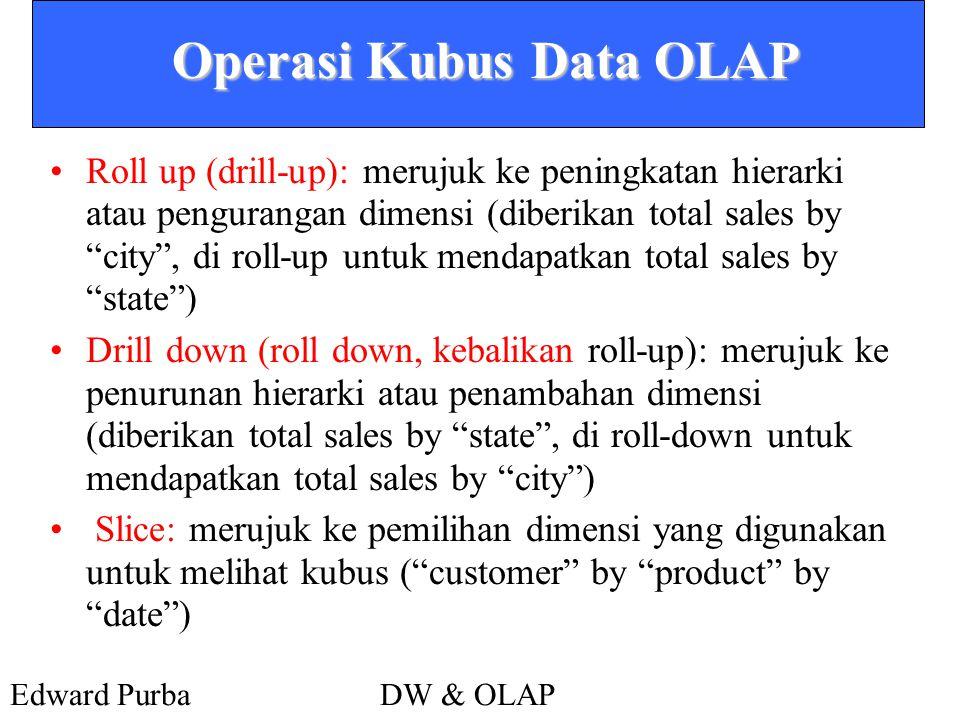 Edward PurbaDW & OLAP Operasi Kubus Data OLAP •Roll up (drill-up): merujuk ke peningkatan hierarki atau pengurangan dimensi (diberikan total sales by city , di roll-up untuk mendapatkan total sales by state ) •Drill down (roll down, kebalikan roll-up): merujuk ke penurunan hierarki atau penambahan dimensi (diberikan total sales by state , di roll-down untuk mendapatkan total sales by city ) • Slice: merujuk ke pemilihan dimensi yang digunakan untuk melihat kubus ( customer by product by date )
