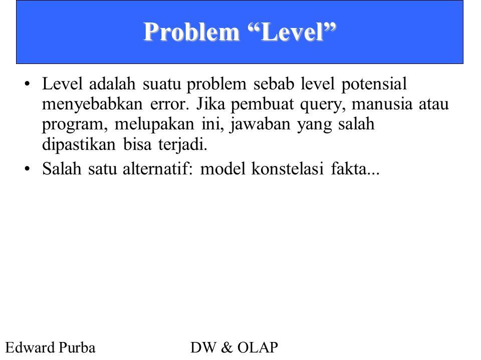 "Edward PurbaDW & OLAP Problem ""Level"" •Level adalah suatu problem sebab level potensial menyebabkan error. Jika pembuat query, manusia atau program, m"