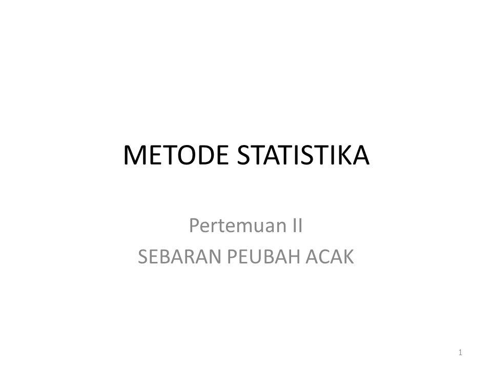 METODE STATISTIKA Pertemuan II SEBARAN PEUBAH ACAK 1