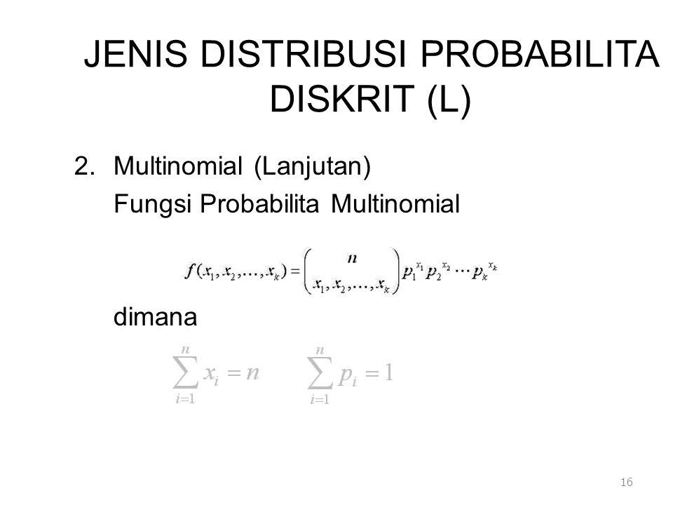 JENIS DISTRIBUSI PROBABILITA DISKRIT (L) 2.Multinomial (Lanjutan) Fungsi Probabilita Multinomial dimana 16
