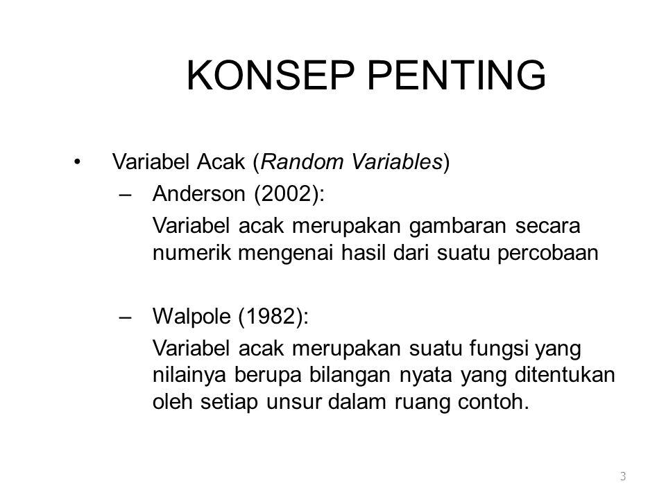 KONSEP PENTING •Variabel Acak (Random Variables) –Anderson (2002): Variabel acak merupakan gambaran secara numerik mengenai hasil dari suatu percobaan –Walpole (1982): Variabel acak merupakan suatu fungsi yang nilainya berupa bilangan nyata yang ditentukan oleh setiap unsur dalam ruang contoh.