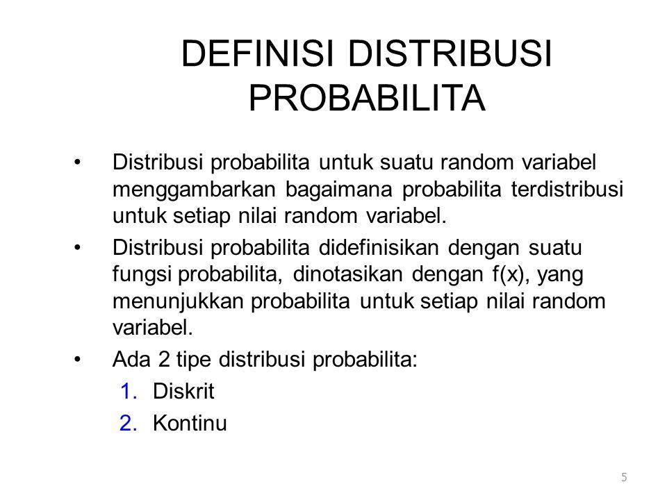 DEFINISI DISTRIBUSI PROBABILITA •Distribusi probabilita untuk suatu random variabel menggambarkan bagaimana probabilita terdistribusi untuk setiap nilai random variabel.