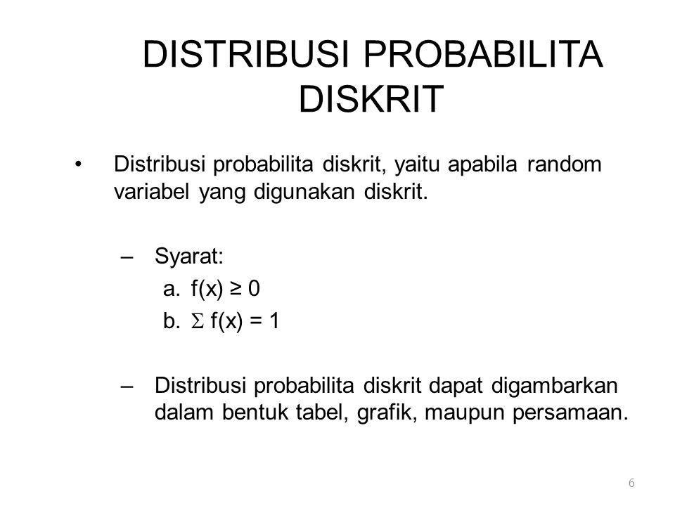 JENIS DISTRIBUSI PROBABILITA DISKRIT (L) 2.Multinomial (Lanjutan) CONTOH : PELEMPARAN DADU Bila 2 dadu dilemparkan 6 kali, berapa peluang mendapatkan jumlah bilangan yang muncul sebesar 7 atau 11 sebanyak 2 kali, bilangan yang sama pada kedua dadu sekali, dan kemungkinan lainnya 3 kali 17
