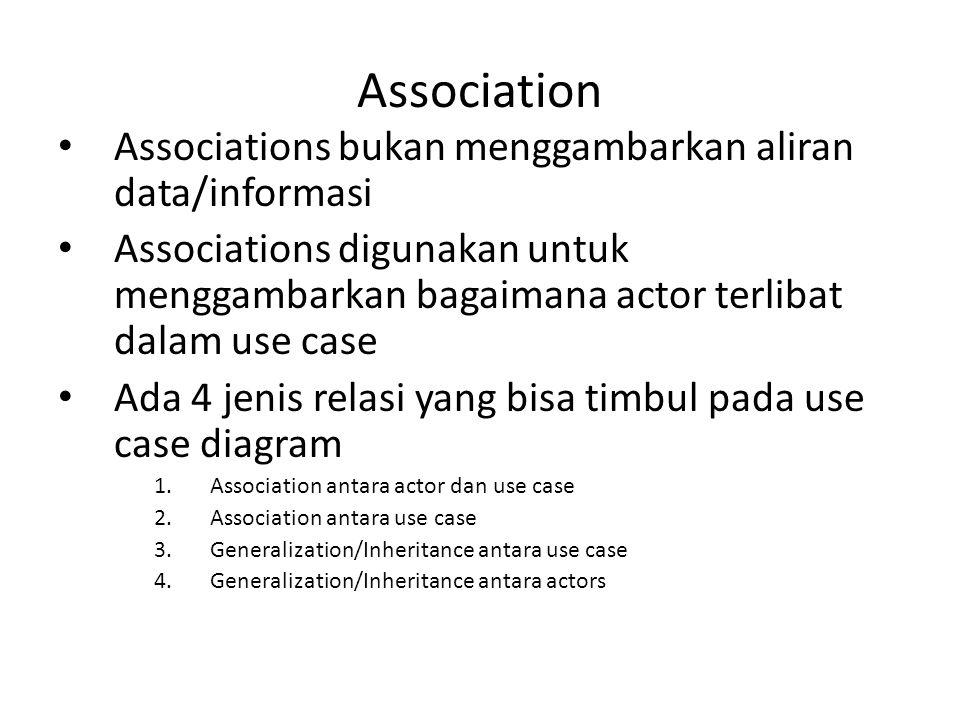 Association • Associations bukan menggambarkan aliran data/informasi • Associations digunakan untuk menggambarkan bagaimana actor terlibat dalam use c
