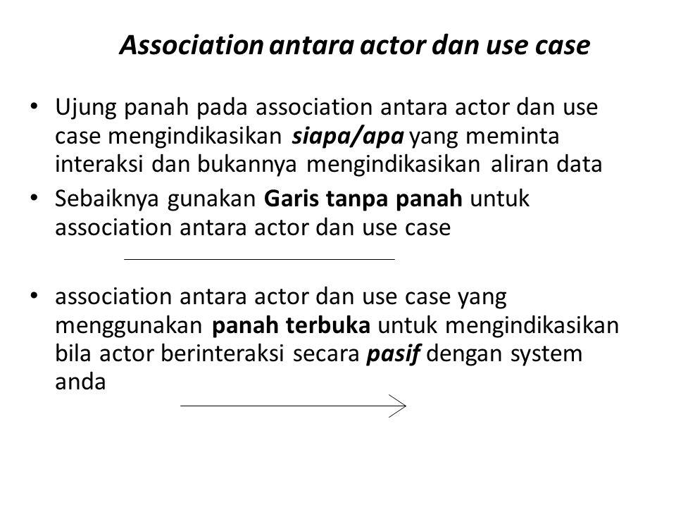 Association antara actor dan use case • Ujung panah pada association antara actor dan use case mengindikasikan siapa/apa yang meminta interaksi dan bu