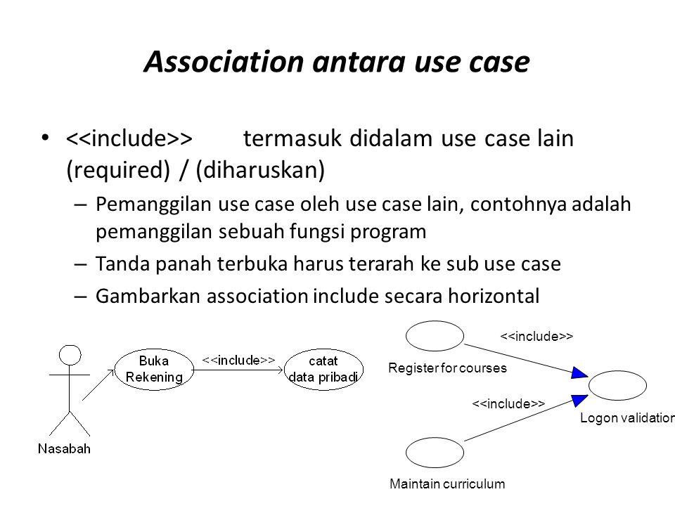 Association antara use case • >termasuk didalam use case lain (required) / (diharuskan) – Pemanggilan use case oleh use case lain, contohnya adalah pe