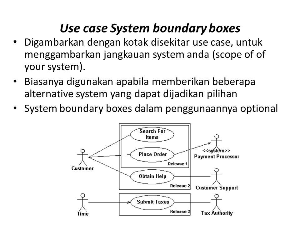 Use case System boundary boxes • Digambarkan dengan kotak disekitar use case, untuk menggambarkan jangkauan system anda (scope of of your system). • B