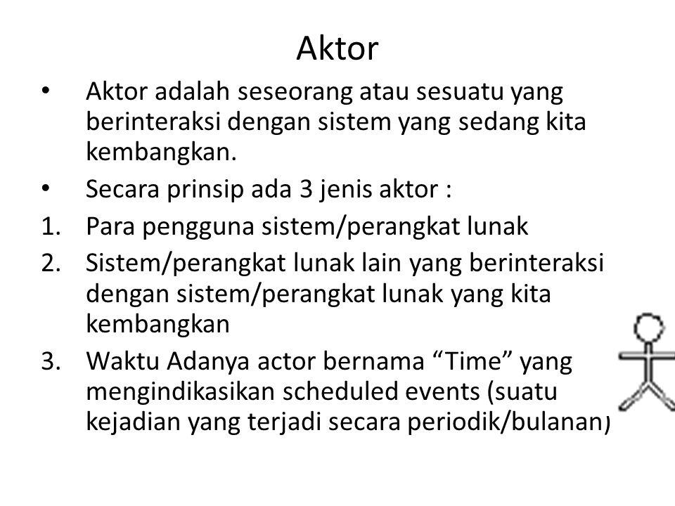 Penggunaan Aktor • Actor menggambarkan sebuah tugas/peran dan bukannya posisi sebuah jabatan • Actor memberi input atau menerima informasi dari system • Actor biasanya menggunakan Kata benda • Tidak boleh ada komunikasi langsung antar actor • Letakkan actor utama anda pada pojok kiri atas dari diagram