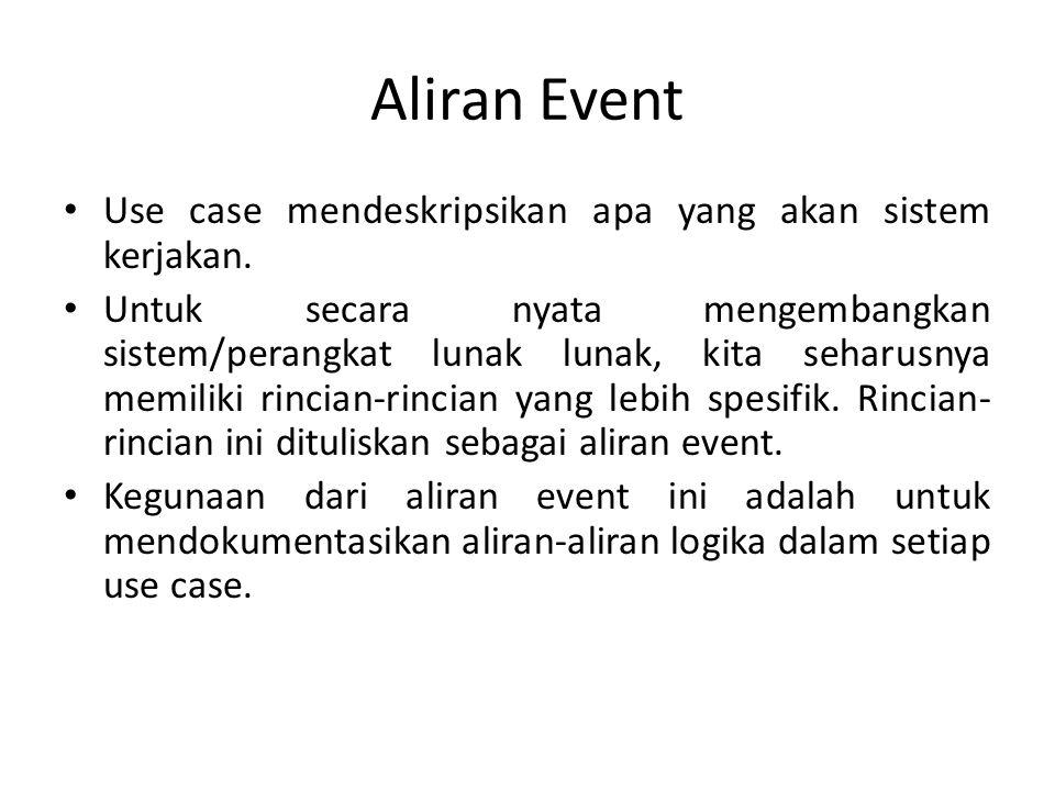Aliran Event • Use case mendeskripsikan apa yang akan sistem kerjakan. • Untuk secara nyata mengembangkan sistem/perangkat lunak lunak, kita seharusny