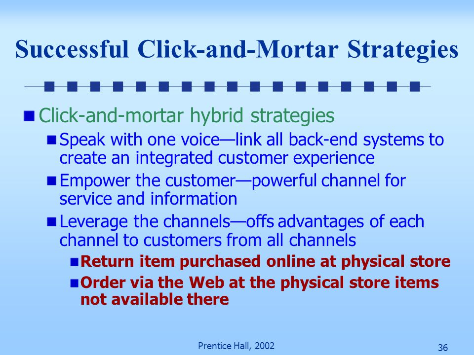 36 Prentice Hall, 2002 Successful Click-and-Mortar Strategies Click-and-mortar hybrid strategies Speak with one voice—link all back-end systems to cre