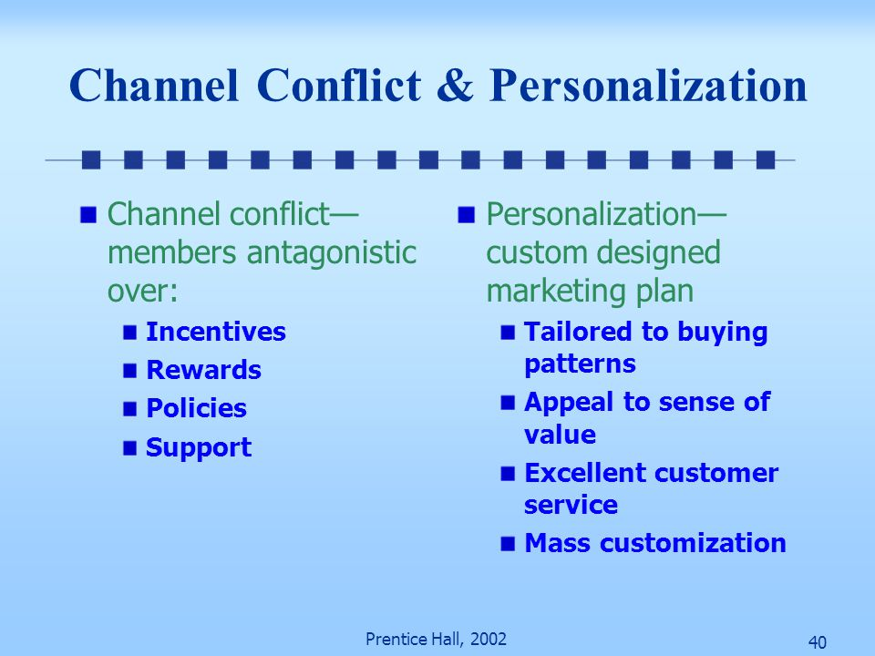 40 Prentice Hall, 2002 Channel Conflict & Personalization Channel conflict— members antagonistic over: Incentives Rewards Policies Support Personaliza