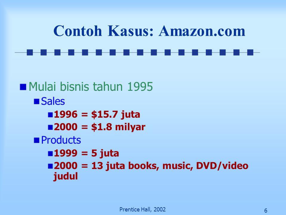 6 Prentice Hall, 2002 Contoh Kasus: Amazon.com Mulai bisnis tahun 1995 Sales 1996 = $15.7 juta 2000 = $1.8 milyar Products 1999 = 5 juta 2000 = 13 jut