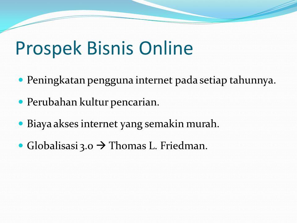 Prospek Bisnis Online  Peningkatan pengguna internet pada setiap tahunnya.