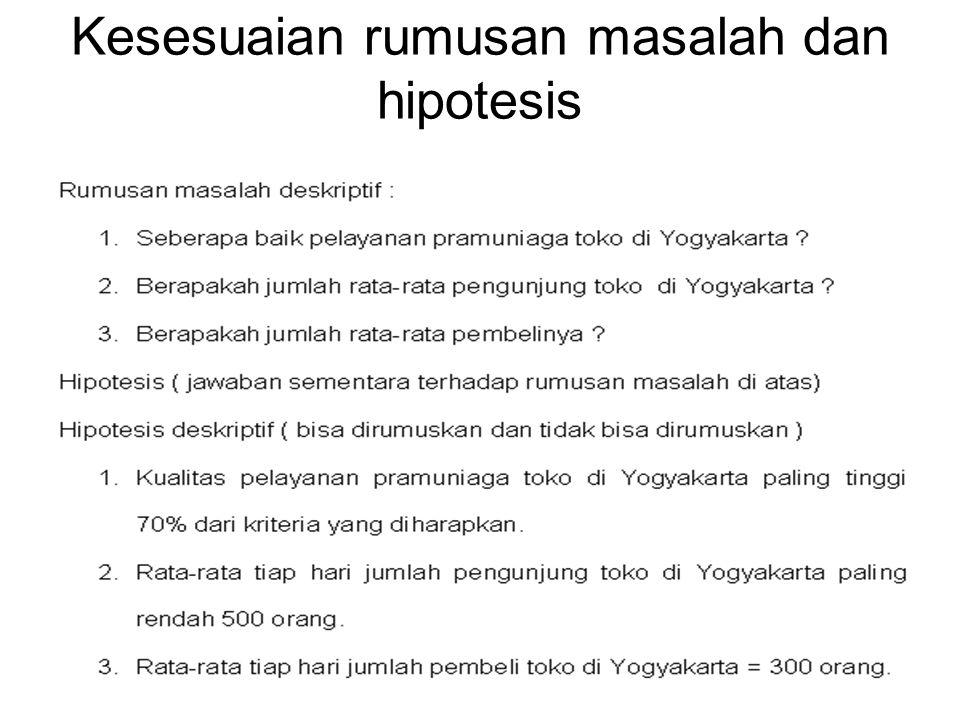Kriterian pemilihan uji hipotesis