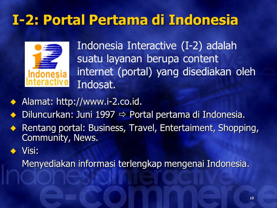 10 Indonesia Interactive (I-2) adalah suatu layanan berupa content internet (portal) yang disediakan oleh Indosat. I-2: Portal Pertama di Indonesia 