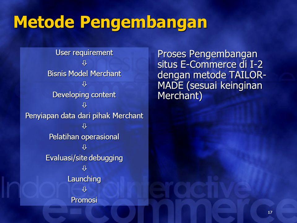 17 User requirement  Bisnis Model Merchant  Developing content  Penyiapan data dari pihak Merchant  Pelatihan operasional  Evaluasi/site debugging LaunchingPromosi Metode Pengembangan Proses Pengembangan situs E-Commerce di I-2 dengan metode TAILOR- MADE (sesuai keinginan Merchant)
