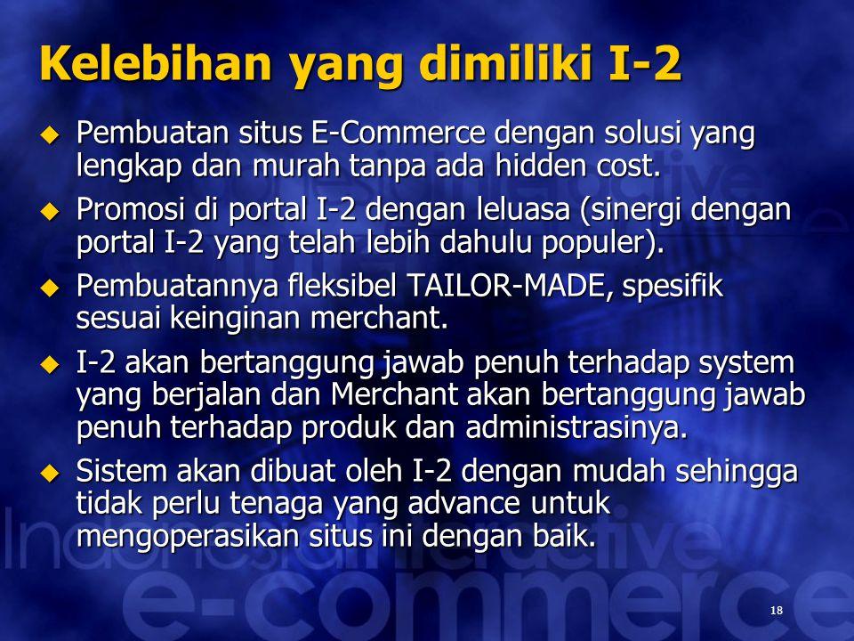 18 Kelebihan yang dimiliki I-2  Pembuatan situs E-Commerce dengan solusi yang lengkap dan murah tanpa ada hidden cost.  Promosi di portal I-2 dengan