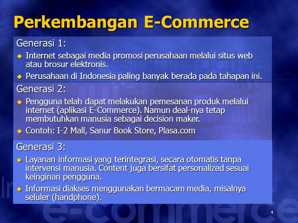 4 Perkembangan E-Commerce Generasi 1:  Internet sebagai media promosi perusahaan melalui situs web atau brosur elektronis.  Perusahaan di Indonesia